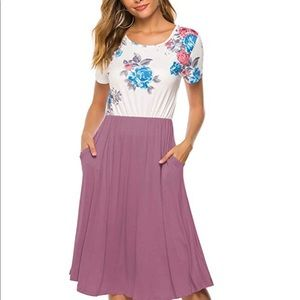 Casual floral swing midi dress with pockets